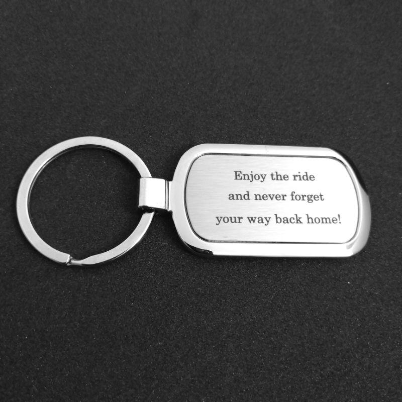Omalla tekstilla avaimenpera