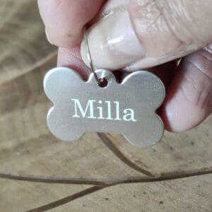 Luun muotoinen nimilaatta koiralle, hopeanvärinen