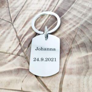 avaimenperä jossa teksti Johanna 24.9.2021