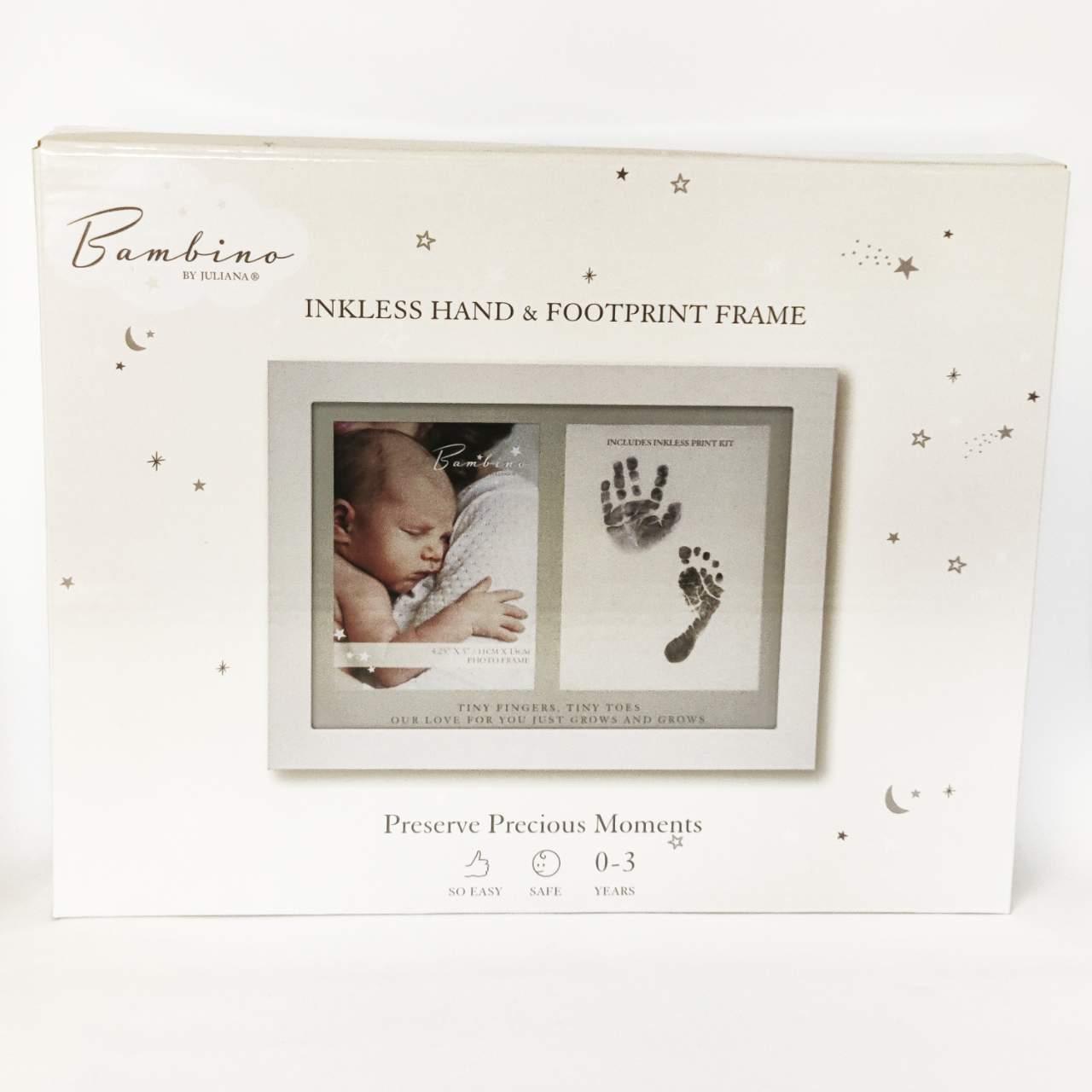 kaunis valokuvakehys, johon saa vauvan valokuvan sekä käden- ja jalajäljen